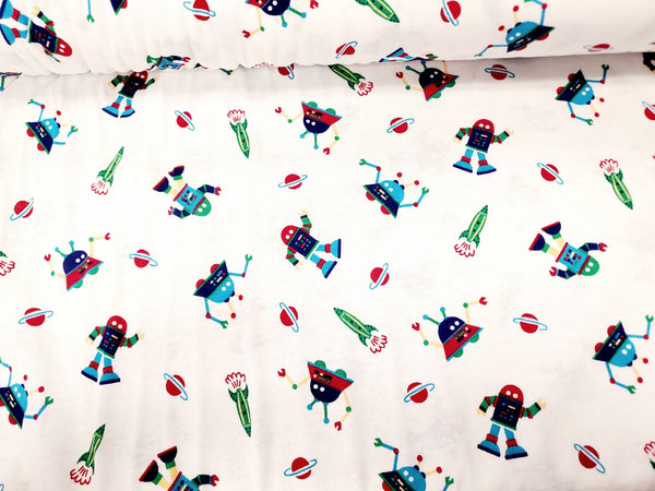 Robots and Aliens Jersey Knit Fabric By the Yard