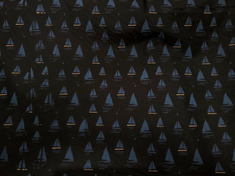 Sailboat Twill Stretch Cotton  Fabric Sports Theme By the Yard