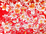 Tropical  Floral  Cotton Shirting Fabric Red  By the Yard