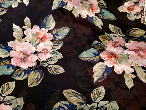 Posy Bouquet Chiffon Fabric Sem Sheer By the Yard