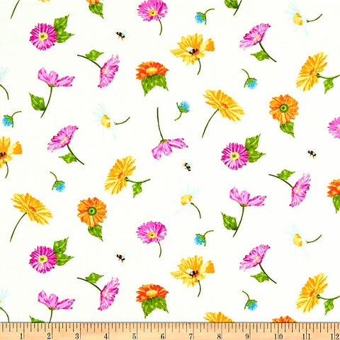 Meow Meadow Floral Cotton Fabric White Andover By the Yard