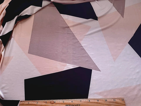 Abstract Geometric Neutral  Lycra Jersey Knit Fabric  BY the Yard