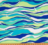 Waves and Seagulls Model Lycra Jersey Knit Fabric  BY the Yard