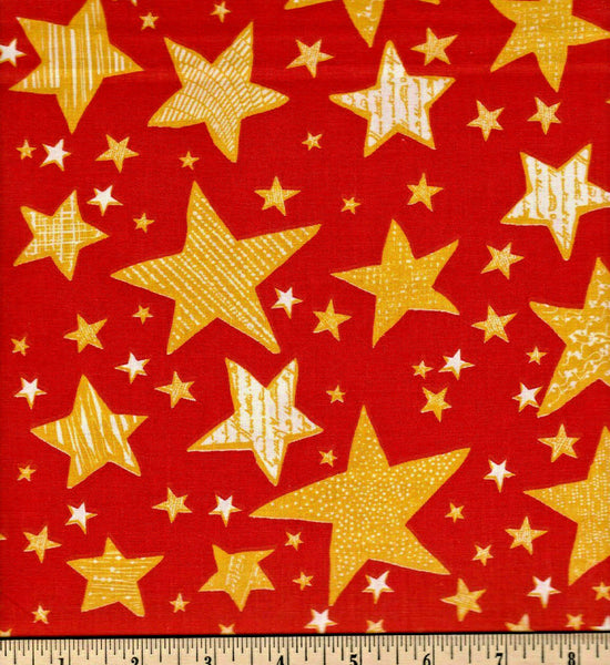 Fabric Tradition Stars Red   Cotton Sheeting Fabric BY the Yard