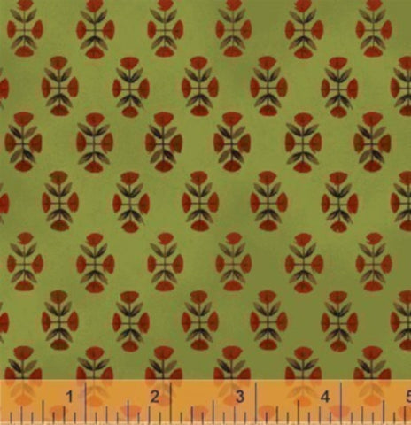 Folk Art Village Reproduction Cotton Fabric Diamonds Green   By the Yard