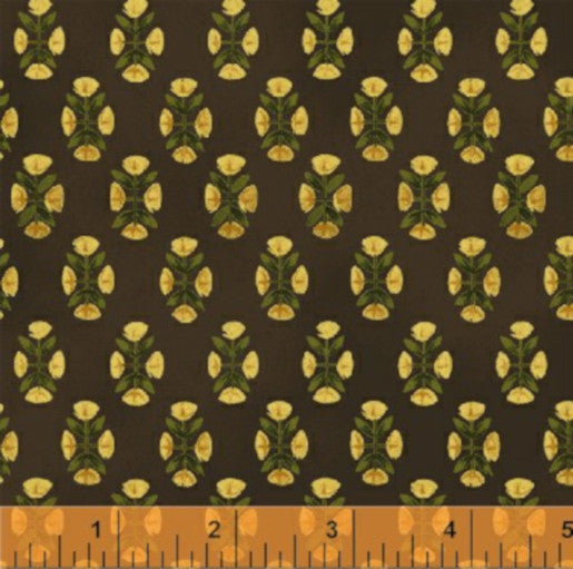 Folkart Village Reproduction Cotton Fabric Diamonds Brown  By the Yard