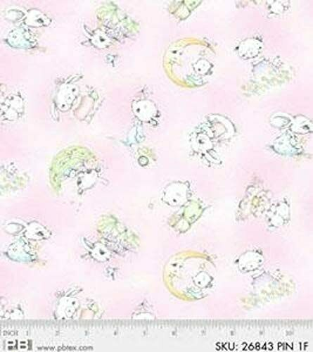 Starry Days and Starry Nights Cotton Flannel Fabric Bunnies Pink P & B  By the Yard