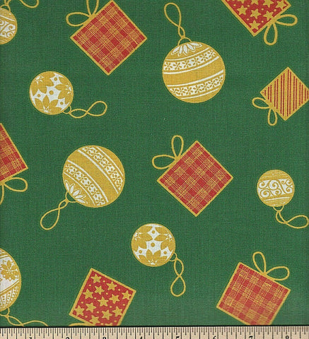 Fabric Tradition Ornaments Green  Cotton Sheeting Fabric BY the Yard