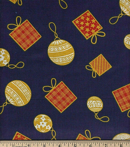 Fabric Tradition Ornaments Blue Cotton Sheeting Fabric BY the Yard