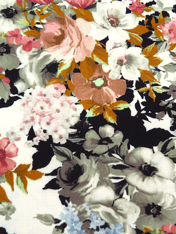 Elegant Flowers Bubble Crepe Floral  Crepe  Apparel Fabric  By the Yard