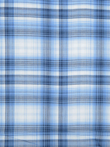 Plaid Cotton Shirting Fabric Blue Lightweight By the Yard