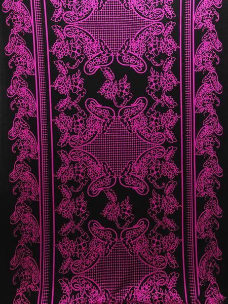 Double Border Paisley Knit Fabric Sweater Poly Lycra  By the Yard