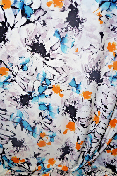 Abstract  Floral  Crepe  Apparel Fabric  Semi Sheer By the Yard