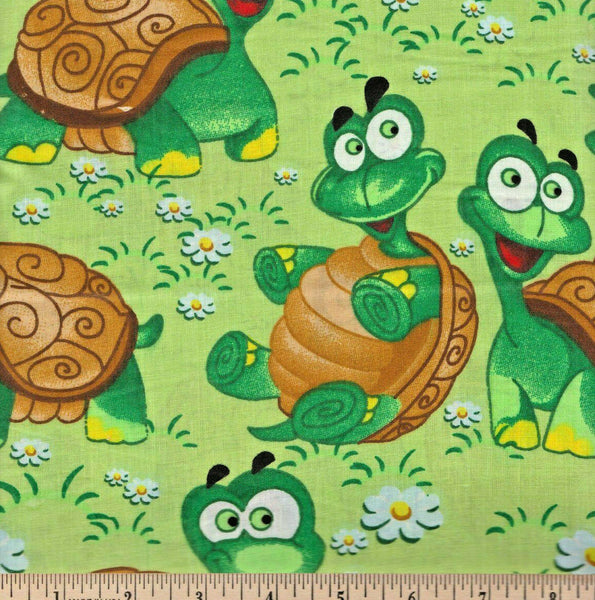 Happy Turtles Cotton Sheeting Fabric Traditions By the Yard 56 Wide