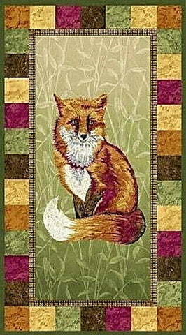 Pretty Foxy Cotton Panel Wildlife Paintbrush Studios