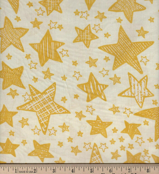 Fabric Tradition Stars Gold  Cotton Sheeting Fabric BY the Yard