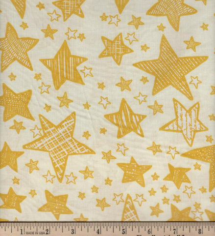 Copy of Fabric Tradition Stars Gold  Cotton Sheeting Fabric BY the Yard