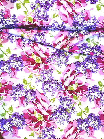 Floral Satin Backed Shantung Polyester Lilacs and Roses By the Yard