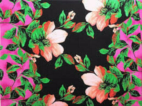Tropical Floral Polyester Lycra ITY Jersey Knit Fabric By the Yard