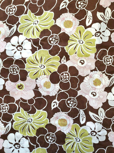 Abstract Floral  Voile Cotton Fabric  Semi Sheer  By the Yard