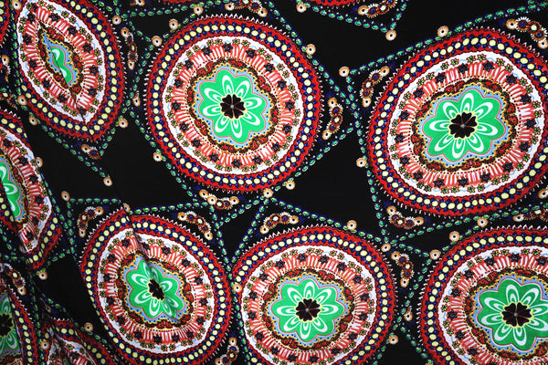 Ethnic Theme Crepe Apparel Fabric By the Yard