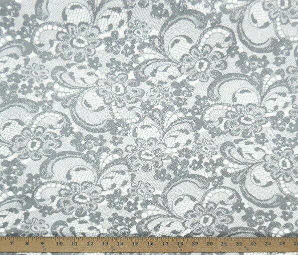 Gray Lace Look Floral Velour Knit Fabric BY the Yard