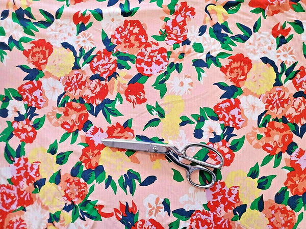 Poly Cotton Rose Floral Jersey Knit Fabric Single Knit By the Yard  By the Yard