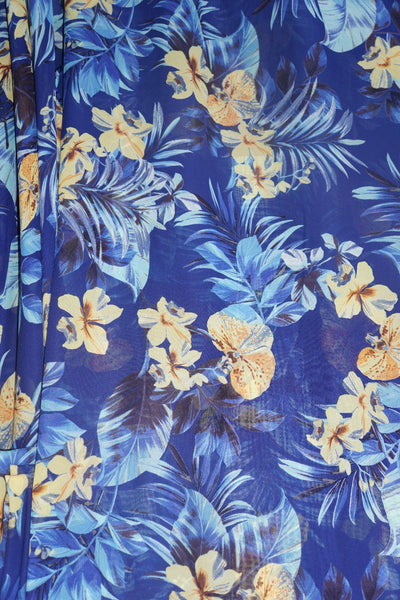 Tropical Floral Chiffon Apparel Fabric By the Yard