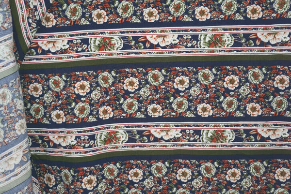 Floral Stripe Rayon Challis Fabric Apparel By the Yard