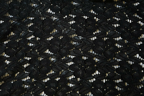 Floral Lace Fabric Special Occasion Apparel Black By the Yard Fabric