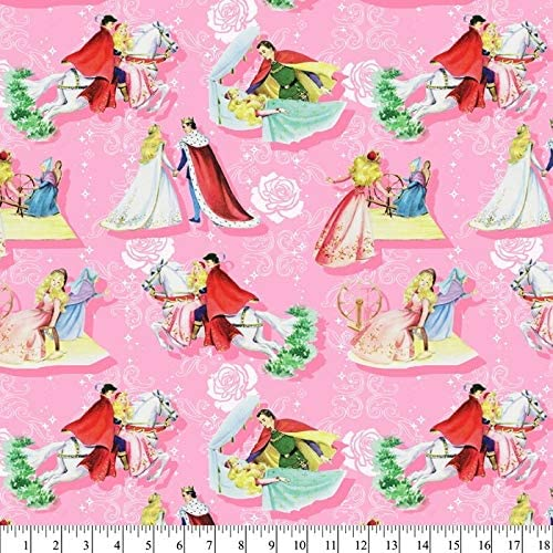 Sleeping Beauty & the Prince  Storybook Cover Cotton Fabric   By the Yard