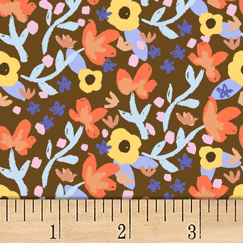 Coffee Lovers Small Floral Cotton Fabric  Clothworks BY the Yard