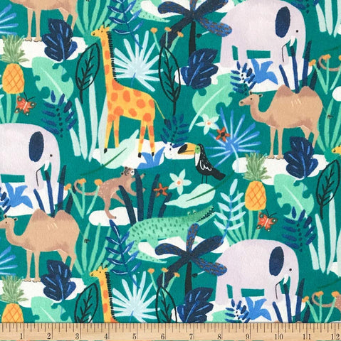Jungle Animals Cotton Flannel Fabric Children Theme By the Yard