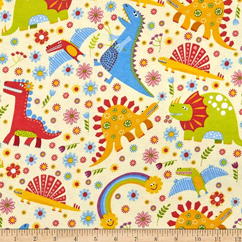 Dinosaur and Rainbows  Cotton Flannel Fabric Children Theme By the Yard