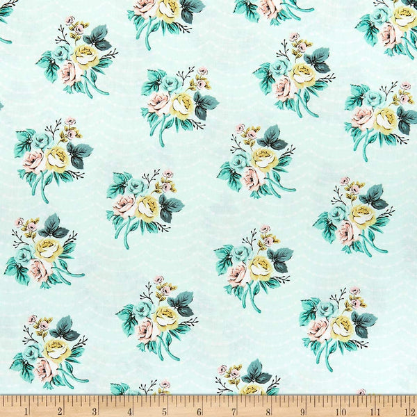 Splendor Mint  Sprigs Floral Cotton Fabric Riley Blake By the Yard