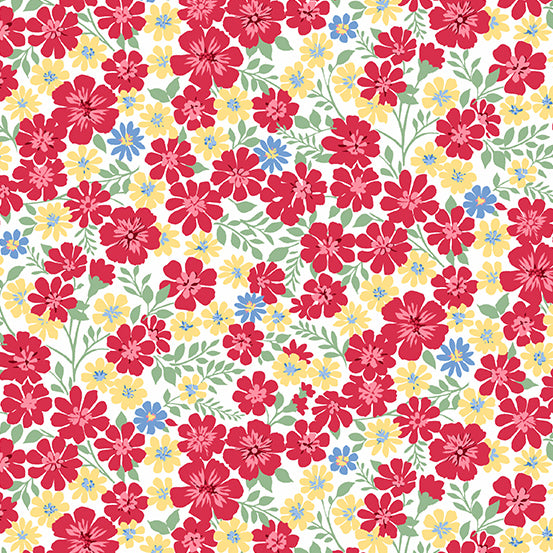 Strawberry Jam Floral Cotton Fabric Makower Daisy  By the Yard
