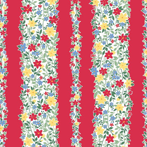 Strawberry Jam Floral Cotton Fabric Makower Fruit Stripe  By the Yard