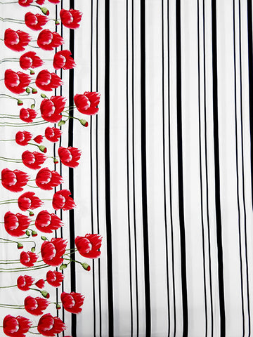 Poppy Floral  Stripe Cotton Shirting Fabric Red  By the Yard