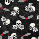 Born to Ride Motorcycle Fabric Rose Tattoo  Windham BY the Yard