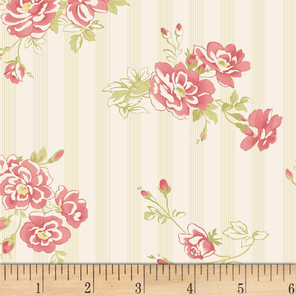Amelie French Floral  Wall Paper Stripe Red Rooster Fabrics BY the yard