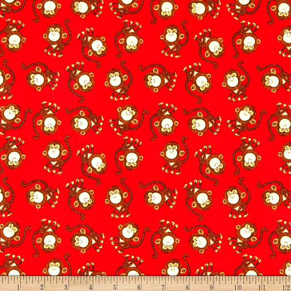 Playful Cuties Zoo Monkeys Cotton Flannel Fabric 3 Wishes By the Yard