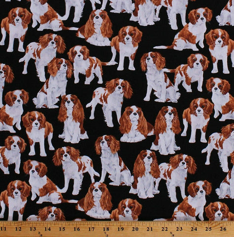 King Charles Spaniel Cotton Fabric Dog Show Timeless Treasures By the Yard