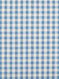 Blue Gingham Check Cotton Seersucker Fabric By the Yard