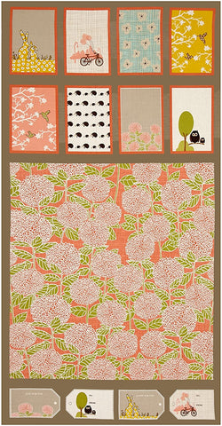 Bluebird Park Panel Moda Cotton Fabric Blocks Apricot By the Panel