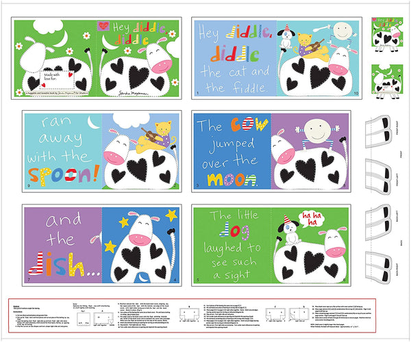 Hey Diddle Diddle Cow and Moon  Cotton Fabric  Huggable & Loveable Book Panel Studio e