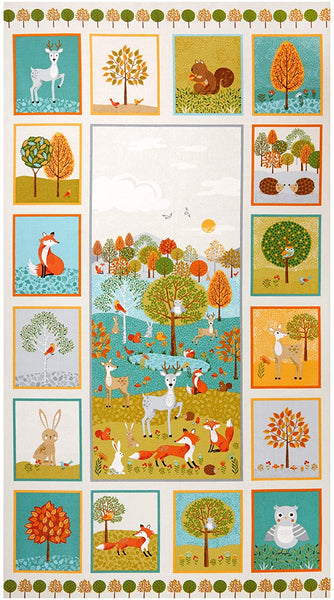 Forest Cotton Fabric Makower Outdoor Panel Animal Trees  By the Panel