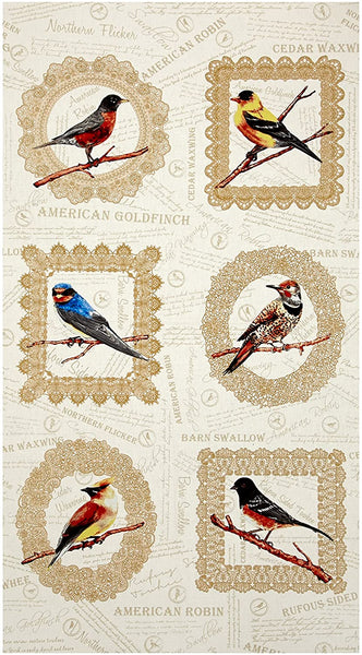 Paloma Songbird Panel Exclusively Quilters Cotton Fabric