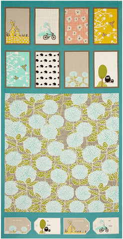 Copy of Bluebird Park Panel Moda Cotton Fabric Blocks Apricot By the Panel