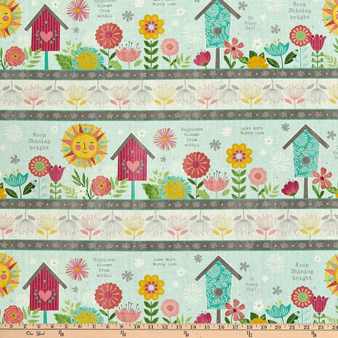 Keep on Shining Cotton Floral Stripe   Anne Rowen Wilmington By the Yard