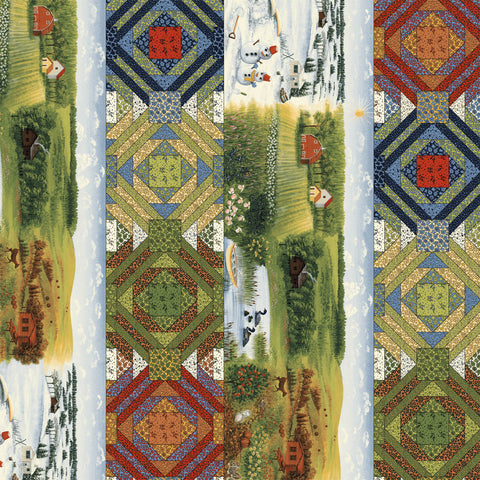 Season's Best Cotton Fabric  Country Scenes and Blocks RJR Reproduction By the Yard